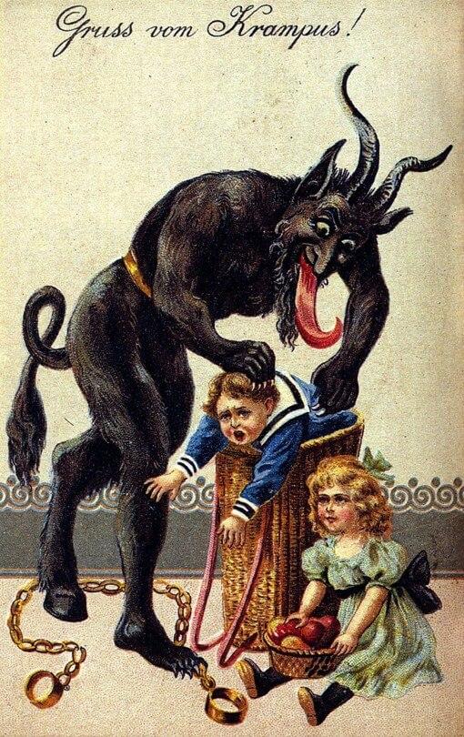 Krampus nappaa lapsia joulukortissa