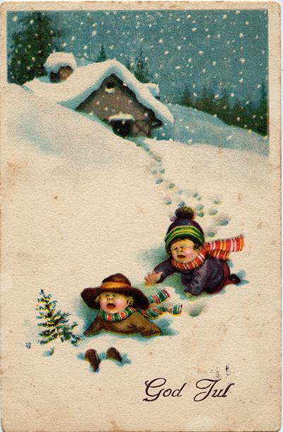 Joulukortissa itkevia lapsia uponneena lumihankeen
