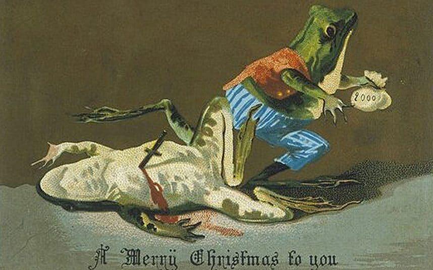 Viktoriaanisessa joulukortissa sammakko on tappanut toisen ja varastanut rahat