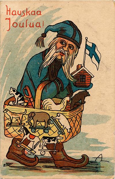 Joulukortissa sinitakkinen joulupukki