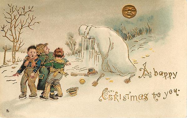 Joulukortissa sulava lumiukko ja lapsia, taustalla kuu lumisessa maisemassa