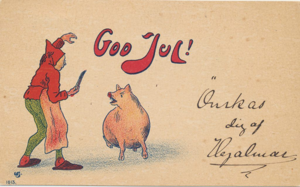 Tonttu veitsi kadessa ja sika joulukortissa