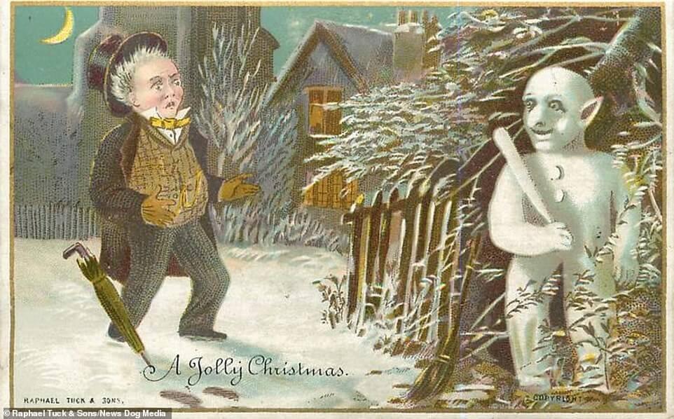 viktoriaanisen ajan joulukortissa mies pelästyy valkoista vaanivaa lumimiesta