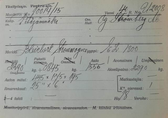 Kuvassa Bleichert Stromwagenin vuoden 1940 kaunokirjaimin käsinkirjoitettu katsastuskortti.