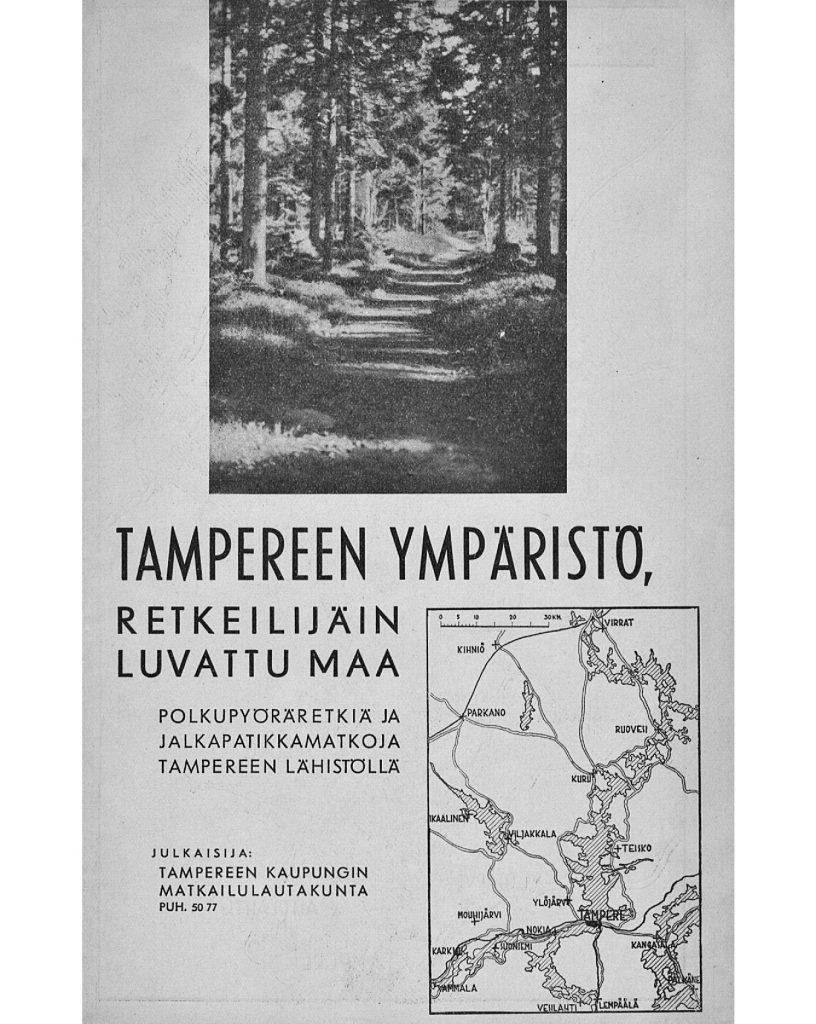 1940-luvun retkioppaan kansi Tampereen ympäristön reiteistä.
